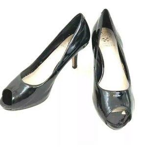 Vince Camuto Black Patent Leather Peep Toe Shoe